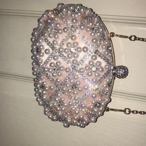 USED ALDO pearls clutch purse